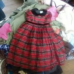 Vintage 4T red black yellow plaid